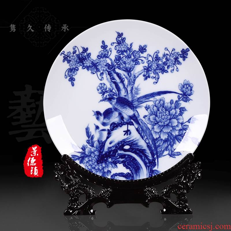 Jingdezhen blue and white porcelain ceramic furnishing articles hanging dish of new Chinese style household decorative plate of the sitting room ark, decorations arts and crafts