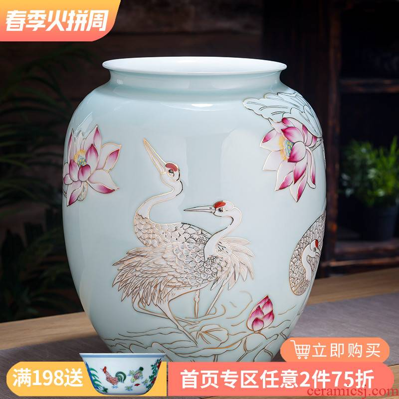 The Master of jingdezhen ceramic hand - made shadow see colour pastel blue pot - bellied bottle of new Chinese style home sitting room adornment is placed