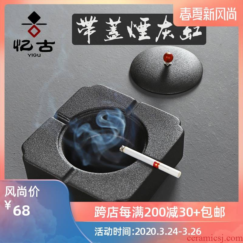 Have large ancient ashtray ceramics with cover hand - made the up personal creative household tea accessories accessories ashtray