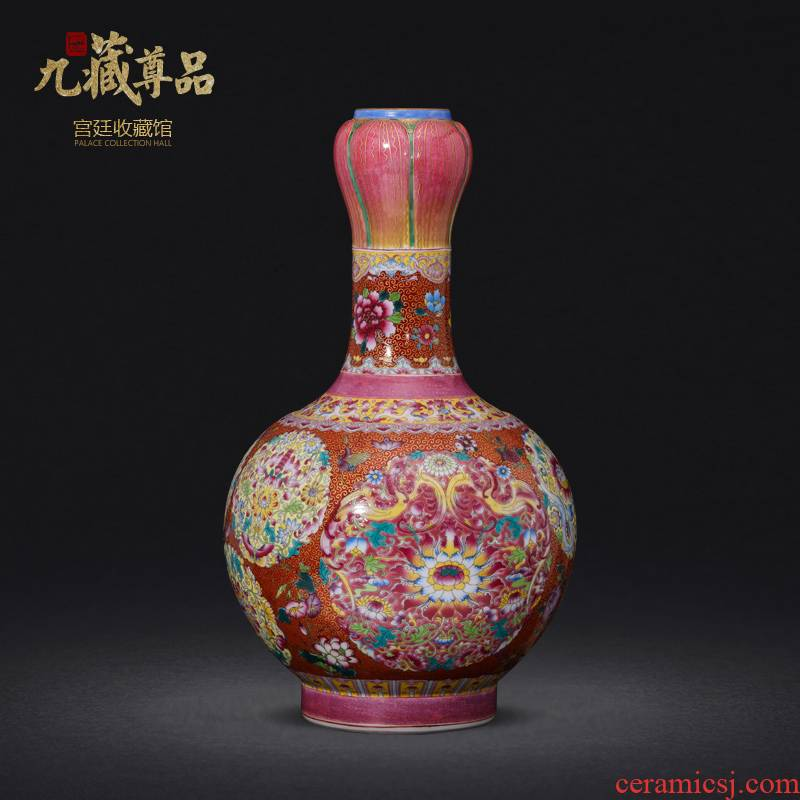 Jingdezhen ceramics imitation the qing qianlong hand - made paint powder enamel bottle collection sitting room home decoration