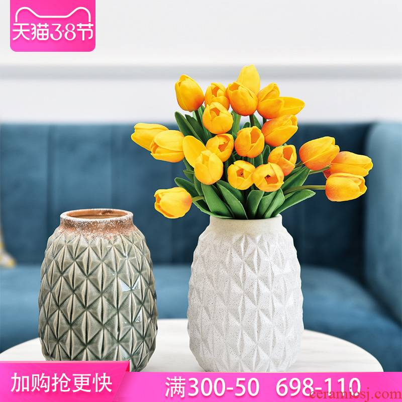 American retro dried flower flower ceramic bottle pineapple POTS mesa place soft outfit decoration home sitting room tea table of flowers