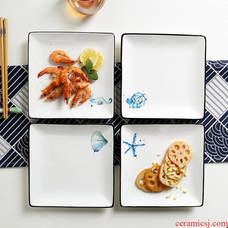 Ins European tableware western - style food dish steak dishes of household ceramic square plate of small cake plate flat plate