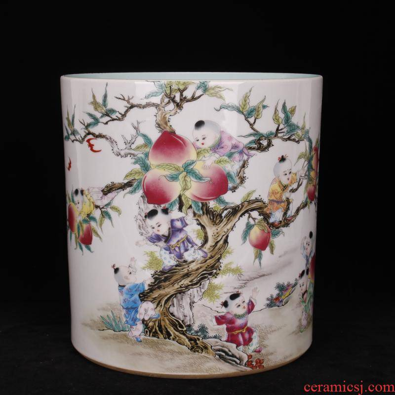 Archaize of jingdezhen porcelain qianlong pastel nine son climb big peach pen container sea four desk of Chinese style household furnishing articles