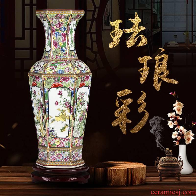 Jingdezhen ceramics vase imitation qianlong colored enamel vase retro flower arranging place, Chinese style household ornaments