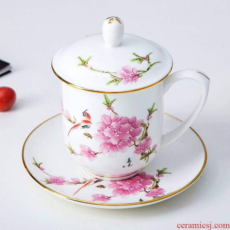 Jingdezhen ceramic peach blossom put office cup hotel and meeting the at hand paint water in the cup ipads porcelain cup with cover