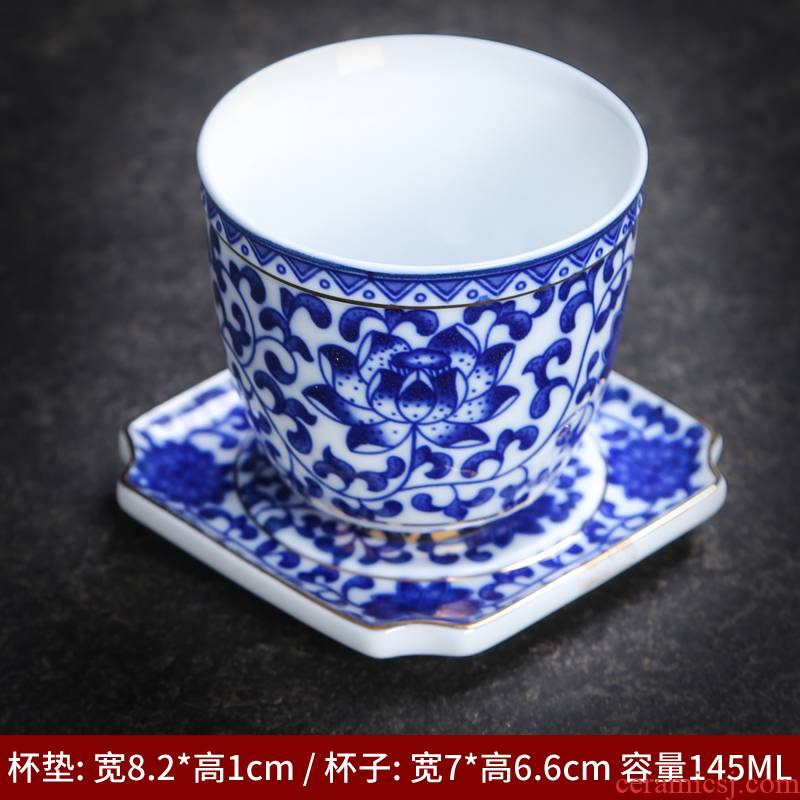 The Master of the blue and white porcelain cup single CPU single sample tea cup jingdezhen ceramic cups kung fu tea set small tea cup cup mat