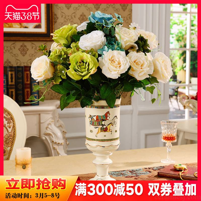 European American ceramic vase living room TV ark place tea table simulation flowers, dried flowers, flower arrangement home decoration