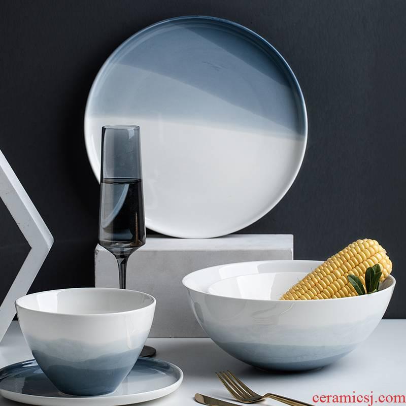 Mystery European ceramic plates pasta dish beefsteak plate SaPan disc ins soup bowl dish bowl