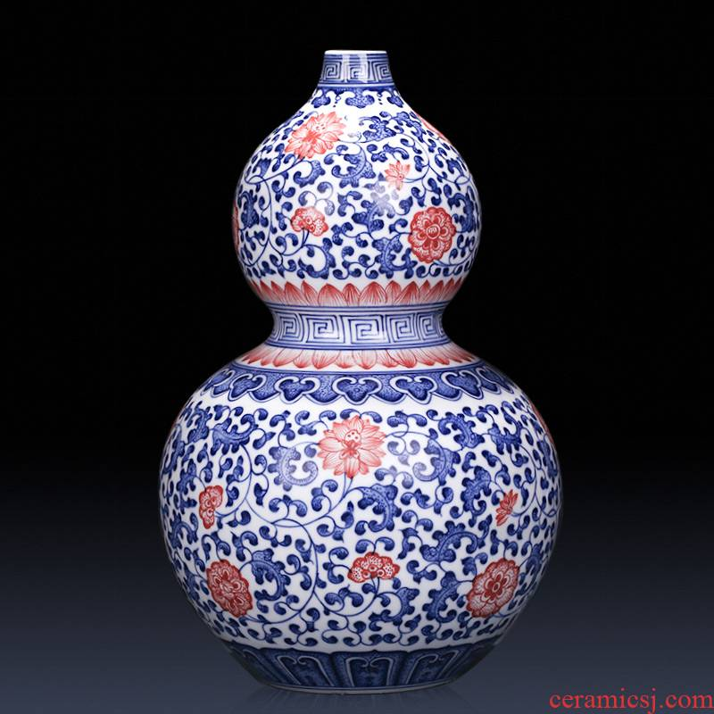 Jingdezhen ceramics imitation qianlong year hand - made of blue and white gourd bottle of new Chinese style classical sitting room adornment is placed