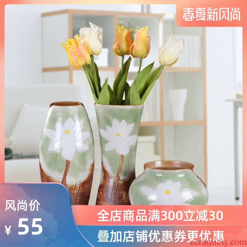 Checking out ceramic vase three - piece flowers, dried flowers, flower I and contracted new sitting room of Chinese style household soft outfit furnishing articles