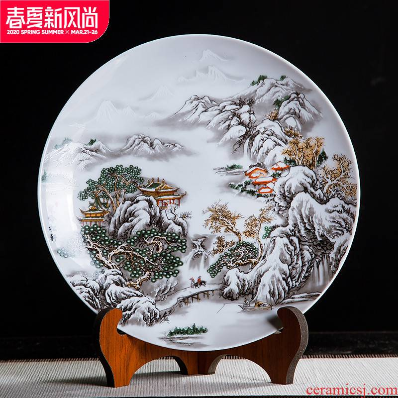 Jingdezhen ceramics glaze pastel landscape painting decorative plate hanging dish sit plate on ornamental panel study furnishing articles of handicraft