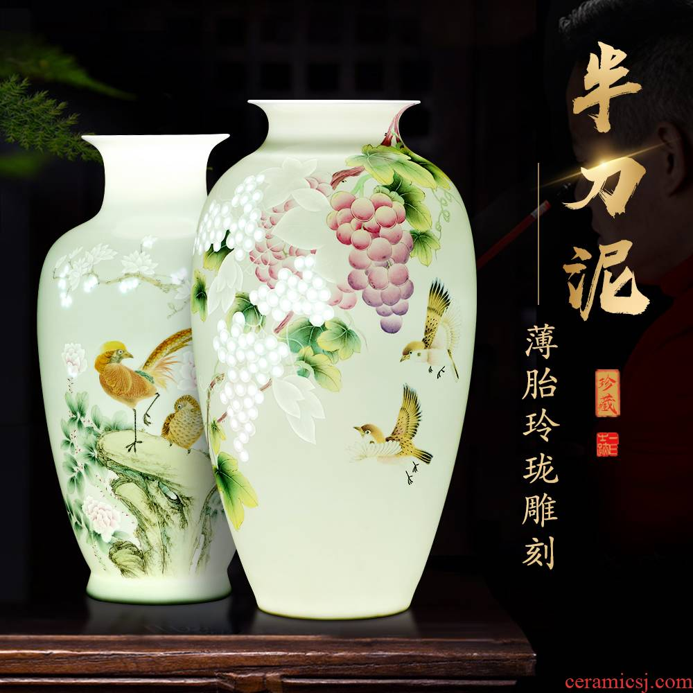 Jingdezhen ceramic hand - made thin foetus vase knife clay rich ancient frame decorate sitting room flower arranging study office furnishing articles