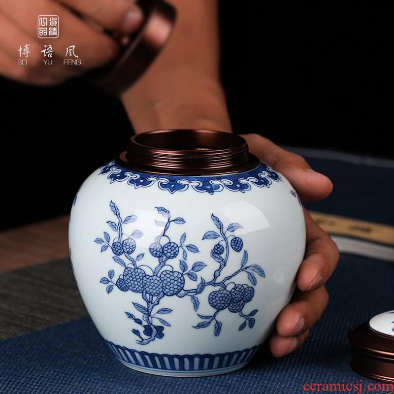 Jingdezhen hand - made tea pot seal moisture puer tea boxes portable ceramic pot high - grade small storage tanks