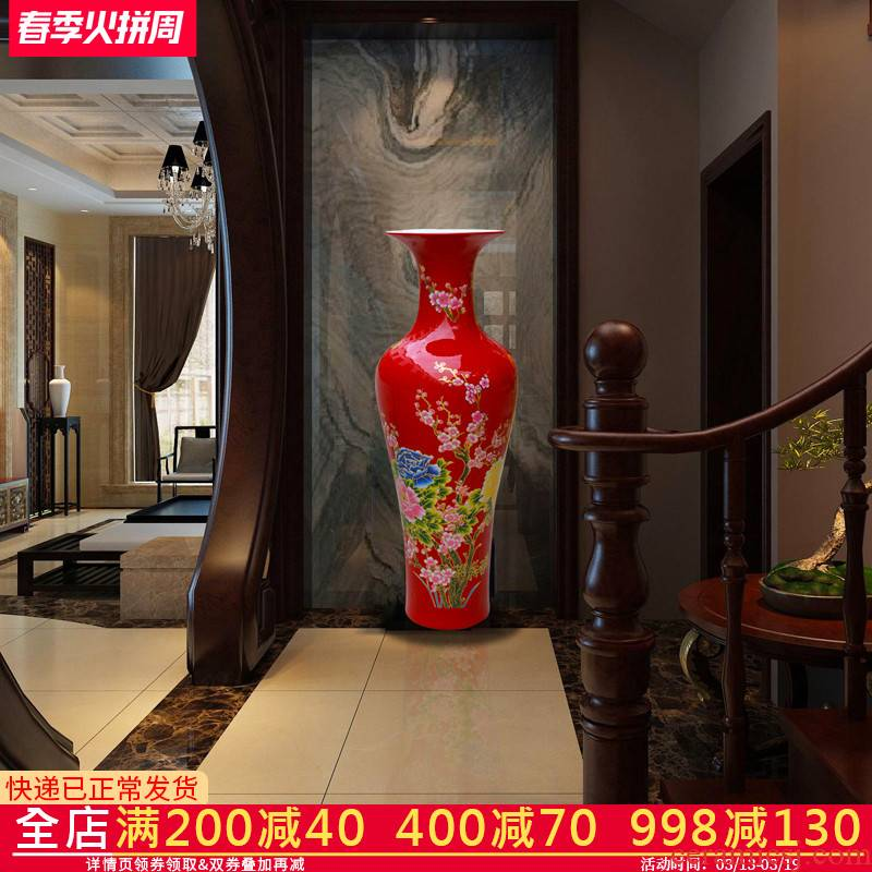 Jingdezhen ceramic Chinese red large vase home sitting room porch place, a large new home decoration hc - 074
