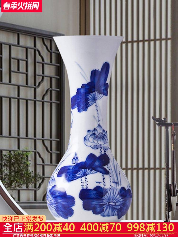 Blue and white porcelain of jingdezhen ceramics floret bottle hydroponic lucky bamboo flower arrangement home sitting room adornment rich ancient frame furnishing articles