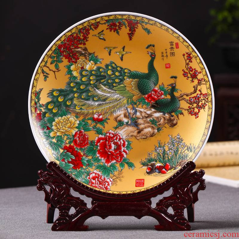 Jingdezhen ceramics powder enamel peacock figure household rich ancient frame decorative plate is placed in the sitting room porch hang dish