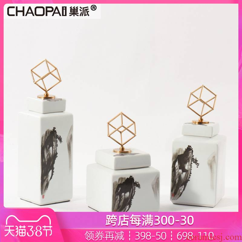 New Chinese style square ceramic landscape tank ink bottle household act the role ofing is tasted wine soft outfit arranging the porch place hotel