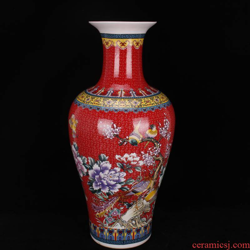 Jingdezhen porcelain end of qianlong red colored enamel charactizing a Chinese domestic outfit company store large vase
