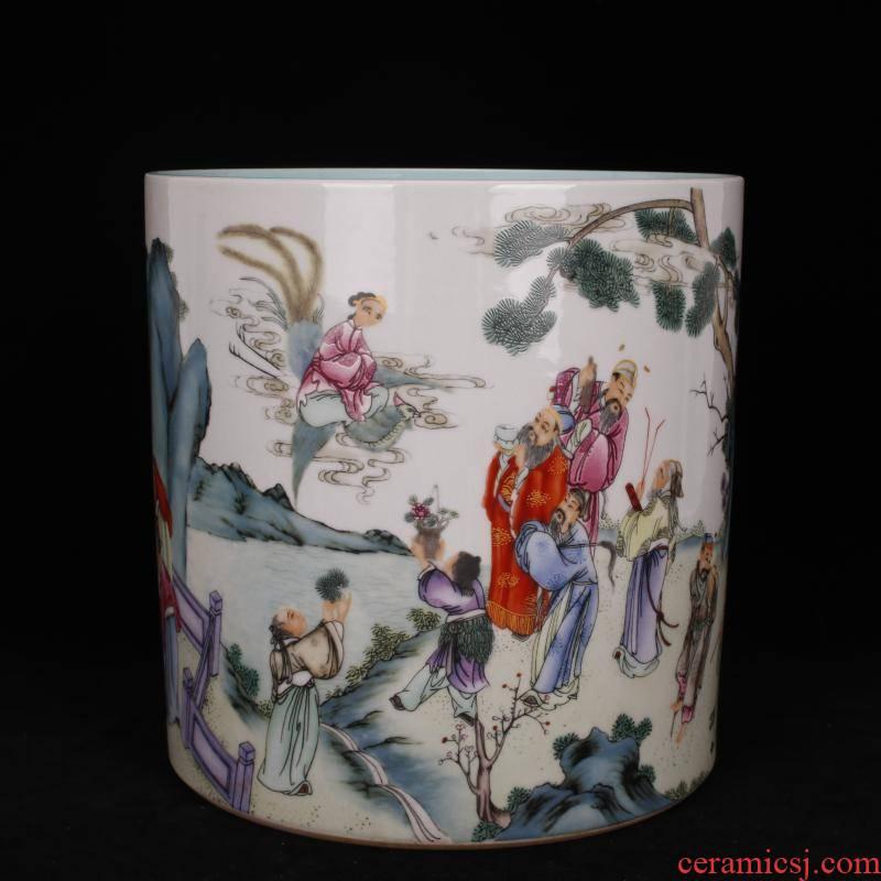 Stories of archaize of jingdezhen porcelain qianlong pastel big brush pot pen sea four desk of Chinese style household furnishing articles
