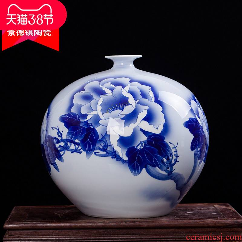 Jingdezhen ceramics famous Wu Wenhan hand - made pomegranate blooming flowers are blue and white porcelain vase collection certificate