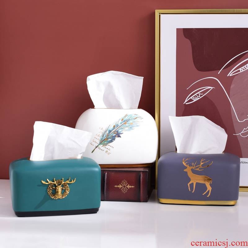 Nordic tissue box, smoke box home sitting room tea table napkin box of American ceramic restaurant bedroom paper boxes