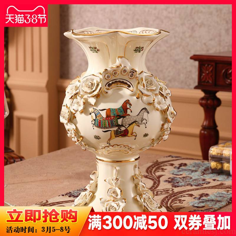 European vase furnishing articles sitting room TV cabinet dry flower arranging flowers large key-2 luxury home decoration ceramic arts and crafts