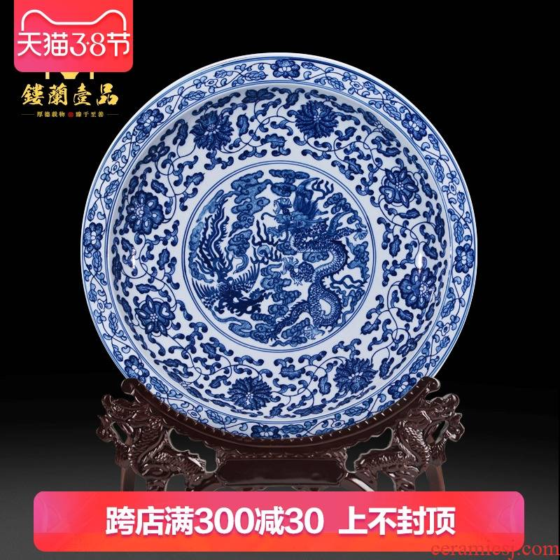 Jingdezhen ceramics imitation the qing qianlong hand - made of blue and white porcelain lotus flower porcelain Chinese hang dish hanging decorative furnishing articles