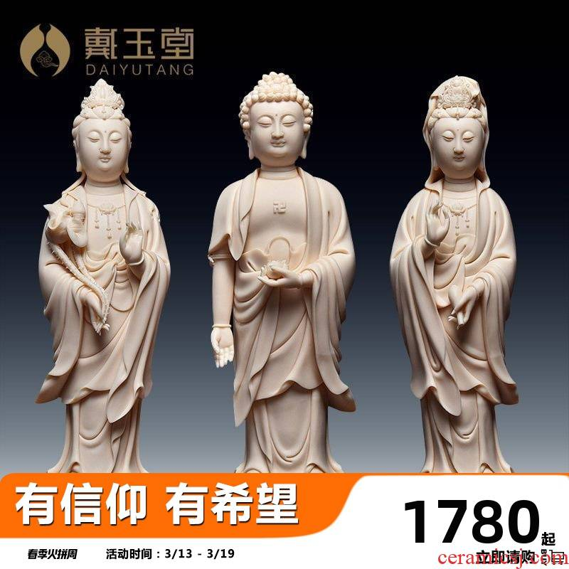 Yutang dai dehua ceramic 12 inches west three furnishing articles furnishing articles collection of handicraft its Lin Luyang st figure of Buddha