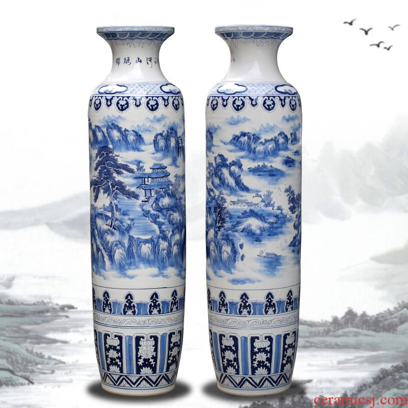 Jingdezhen blue and white porcelain hand - made ceramic furnishing articles home sitting room of large vase splendid sunvo hotel decoration