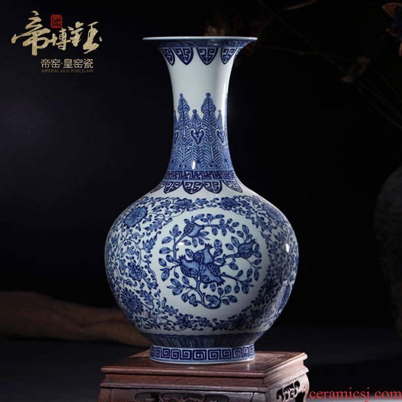 Jingdezhen ceramics imitation qianlong antique Chinese blue and white porcelain vase flower arrangement sitting room porch decoration furnishing articles