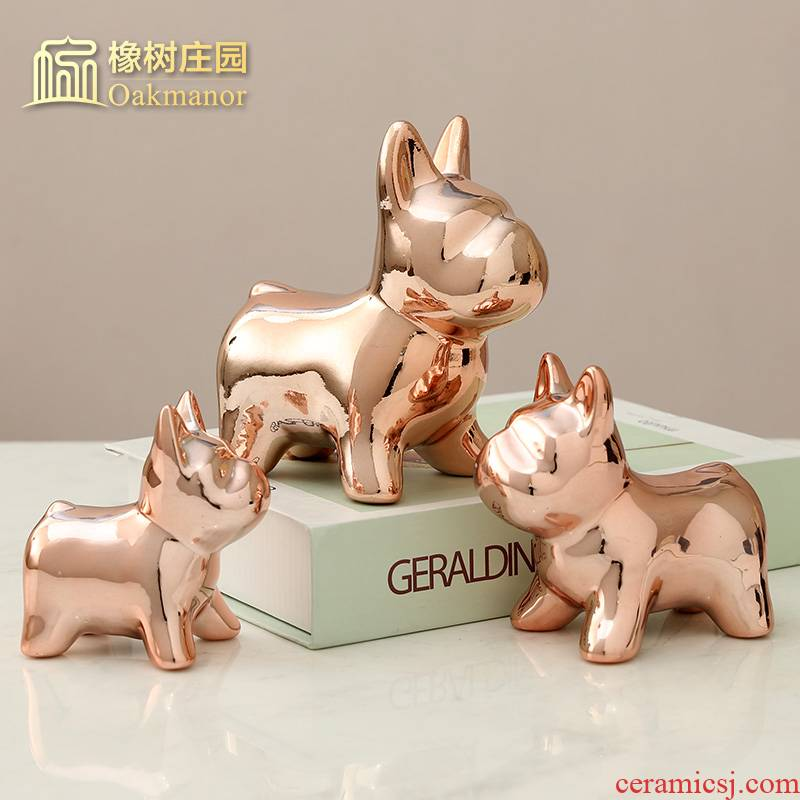 Nordic gold dog bulldog furnishing articles ceramic TV ark, room decorate children room decoration home decoration
