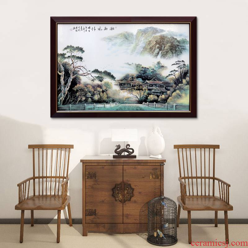 Jingdezhen porcelain plate painting of modern Chinese style living room decoration hangs a picture sitting room porch bedroom new Chinese style murals
