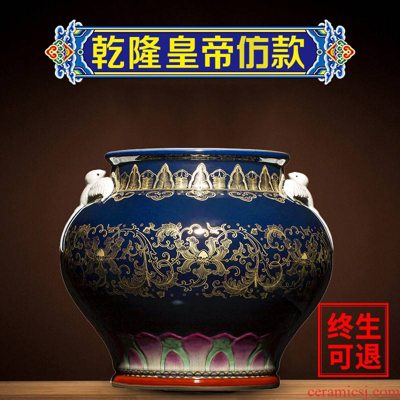Large antique blue and white porcelain vase ji ning sealed up with jingdezhen ceramics glaze see colour rich ancient frame of new Chinese style porcelain