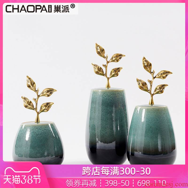 Chinese style grind arenaceous grain storage place national wind belt cover plating leaves cover handle ceramic pot hall sell ornaments