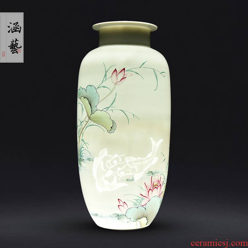 Jingdezhen ceramic knife clay hand - made vases, flower arranging Chinese style household living room TV cabinet decoration handicraft furnishing articles