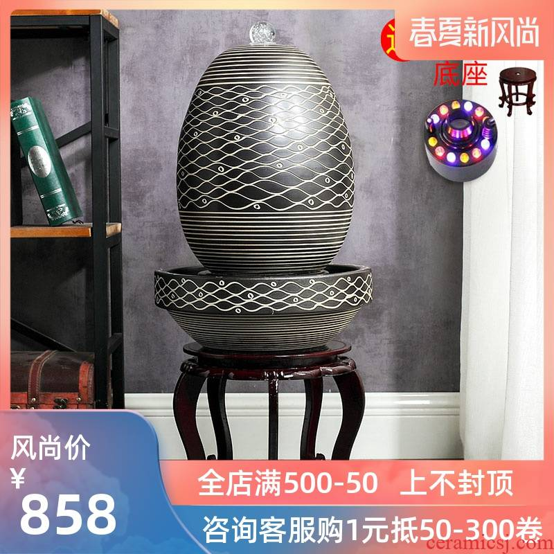 Jingdezhen ceramic household fish living room small water fountain humidifier water aquarium creative opening gifts