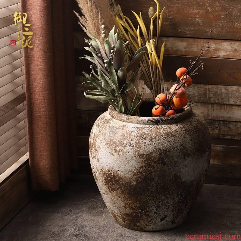 Ceramic VAT coarse clay manual circle altar tank clay flowerpot tank floor furnishing articles courtyard garden