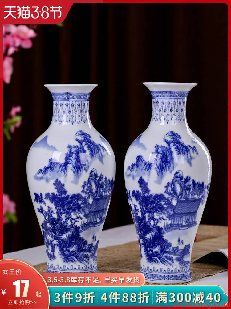 Jingdezhen ceramics, vases, antique blue and white porcelain flower arranging new sitting room of Chinese style household act the role ofing is tasted furnishing articles TV ark