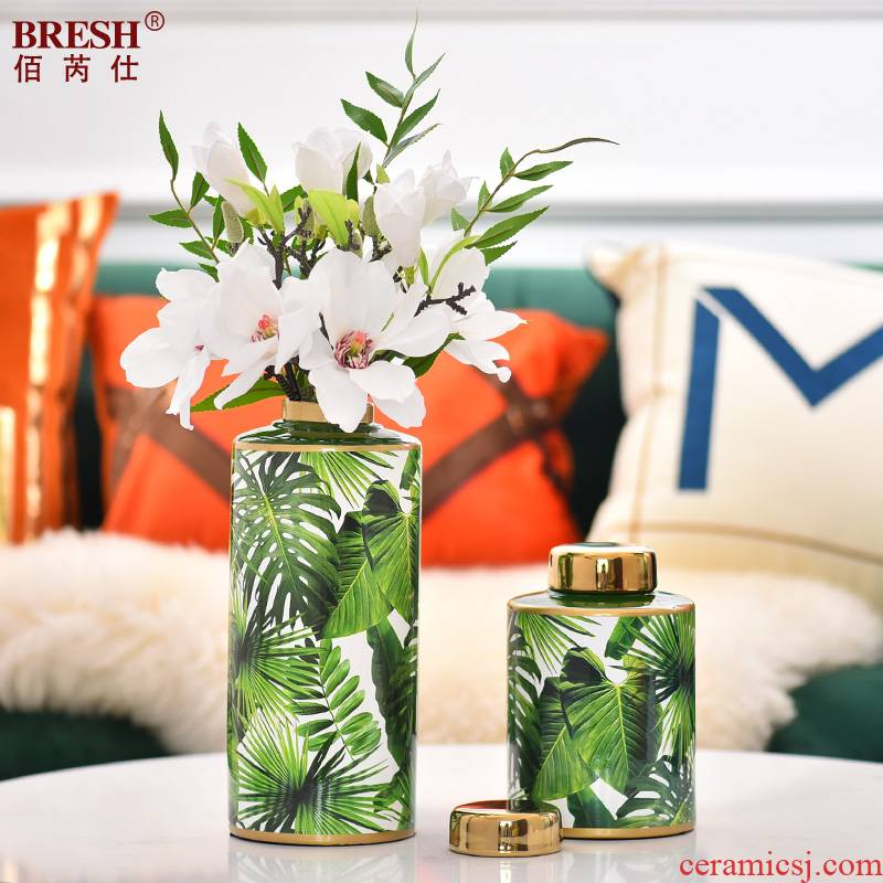 Household ceramic vases, light key-2 luxury decorations leaf green, flower implement of curvature of the villa example room living room decoration vase