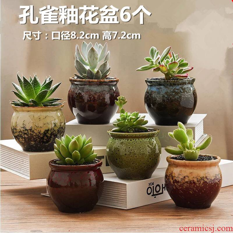 With fleshy flower pot wholesale ceramic creative interior flesh character coarse pottery to restore ancient ways small fleshy plant flower pot