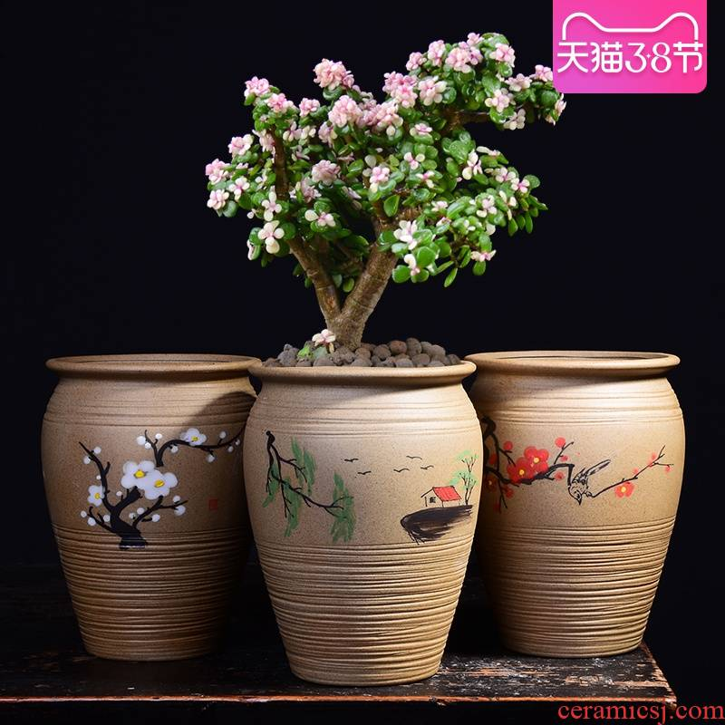 Special thick fleshy flower pot large old running the ceramic painting POTS high Lao - zhuang breathable clay painting creative mage basin