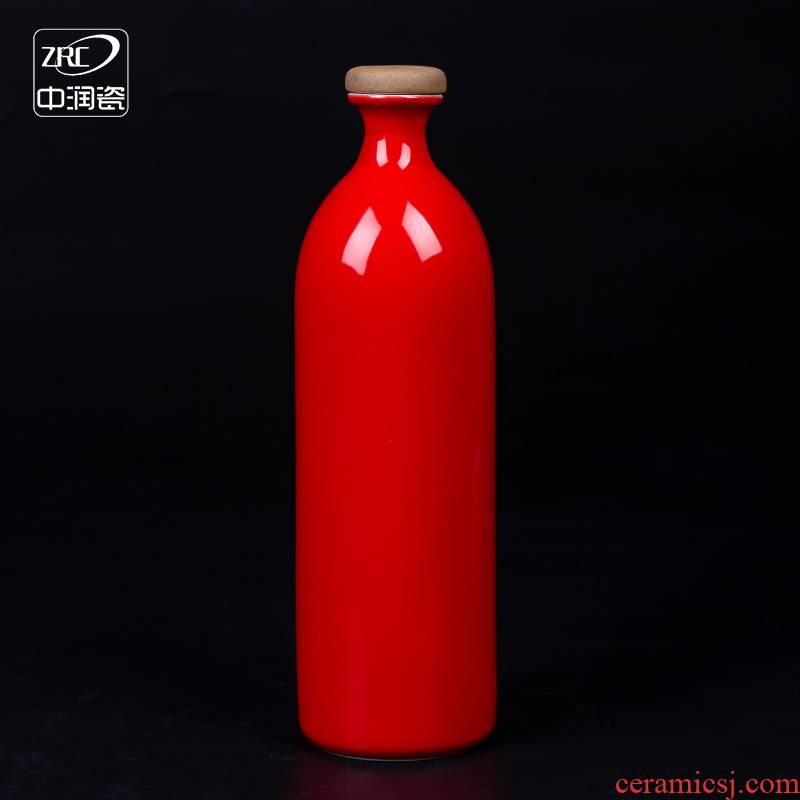 Wedding jingdezhen ceramic bottle 1 catty creative decoration of Chinese style hip seal wine jar empty bottles of liquor to the custom