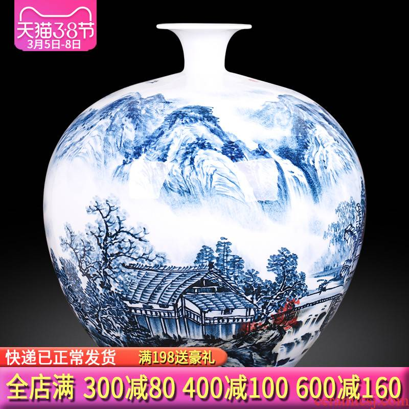 The Master of jingdezhen ceramics hand - made scenery large vases, flower arrangement of the sitting room porch decoration of the new Chinese style furnishing articles