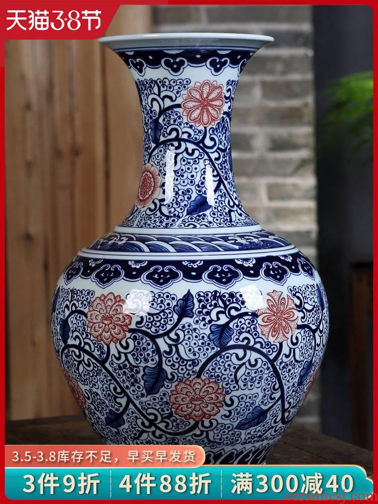 Antique blue and white porcelain of jingdezhen ceramics large vases, flower arrangement, Chinese style living room decoration crafts