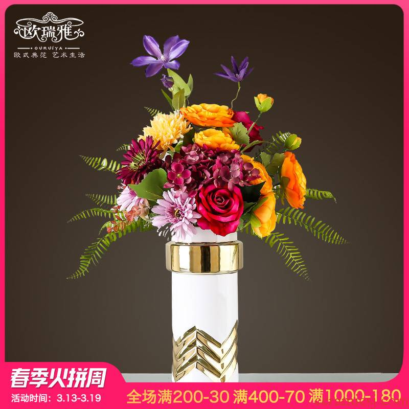 European ceramic vase simulation flower arranging furnishing articles American home sitting room porch soft is TV ark, the table decoration decoration