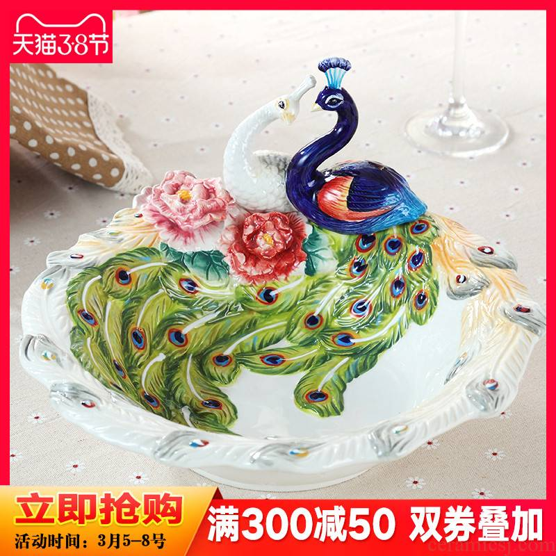 Creative European ceramic fruit bowl home sitting room tea table peacock compote furnishing articles marriage room decoration wedding gift