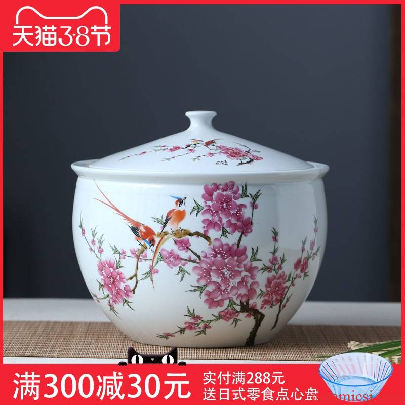 Household ceramics barrel ricer box with cover storage of rice wine pickle meat cylinder 5 jins of 10 jins 20 jins sealing worm