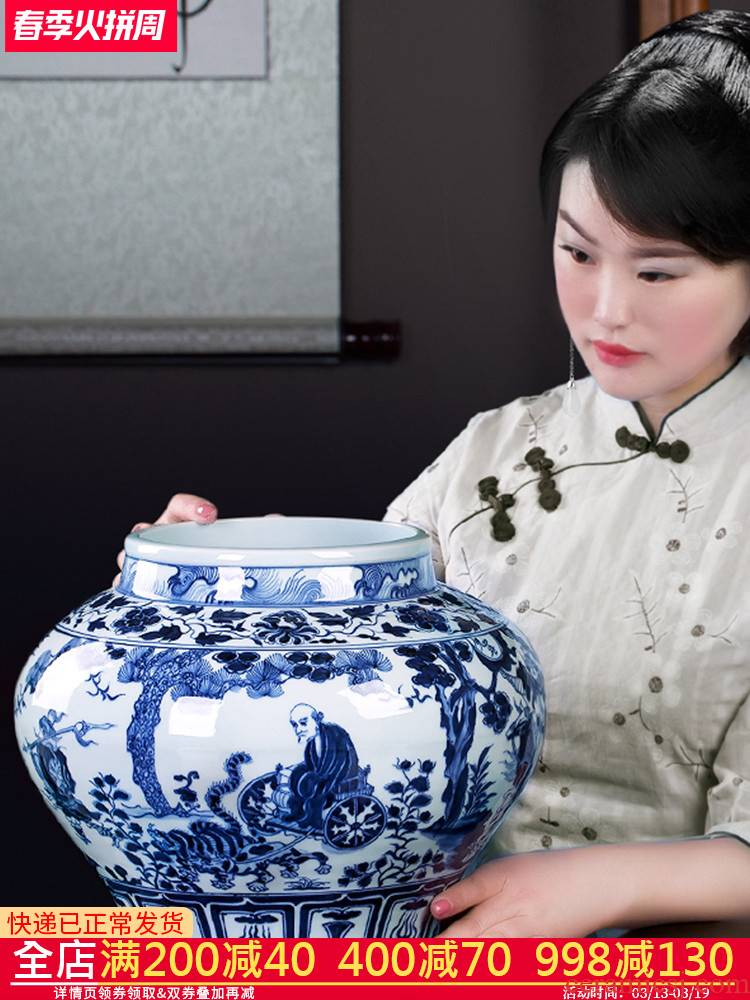Jingdezhen porcelain vases, antique hand - made imitation of yuan blue and white guiguzi down big pot sitting room adornment is placed