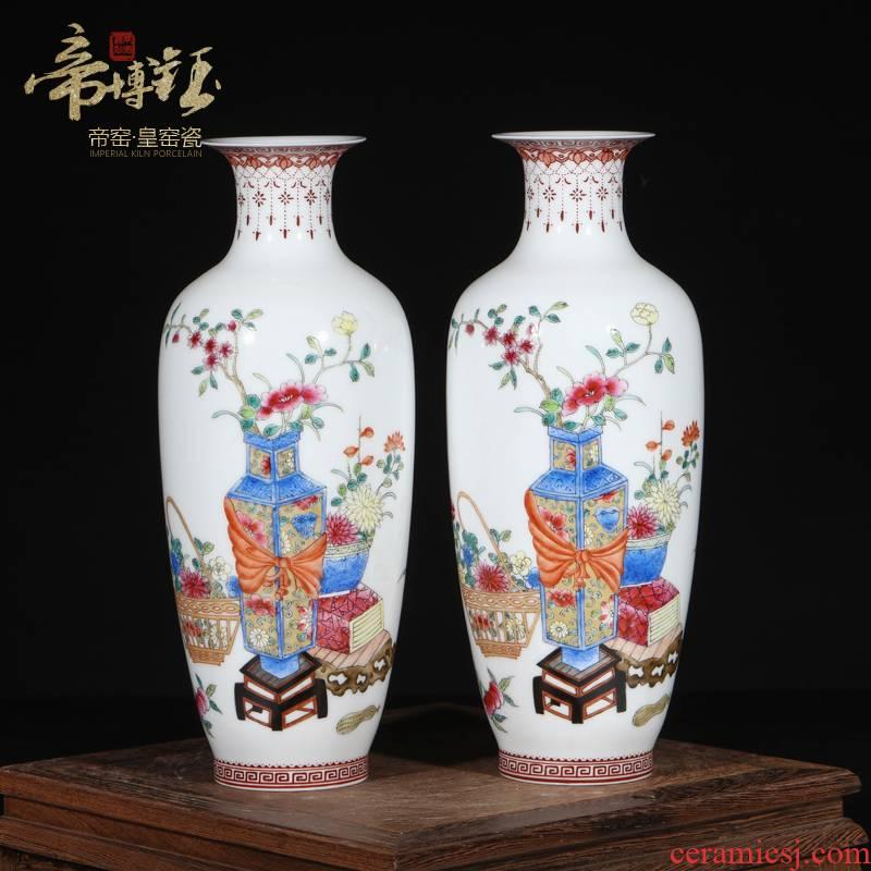 Jingdezhen ceramics antique hand - made pastel antique goddess of mercy bottle to bottle antique porcelain decorative antique old goods