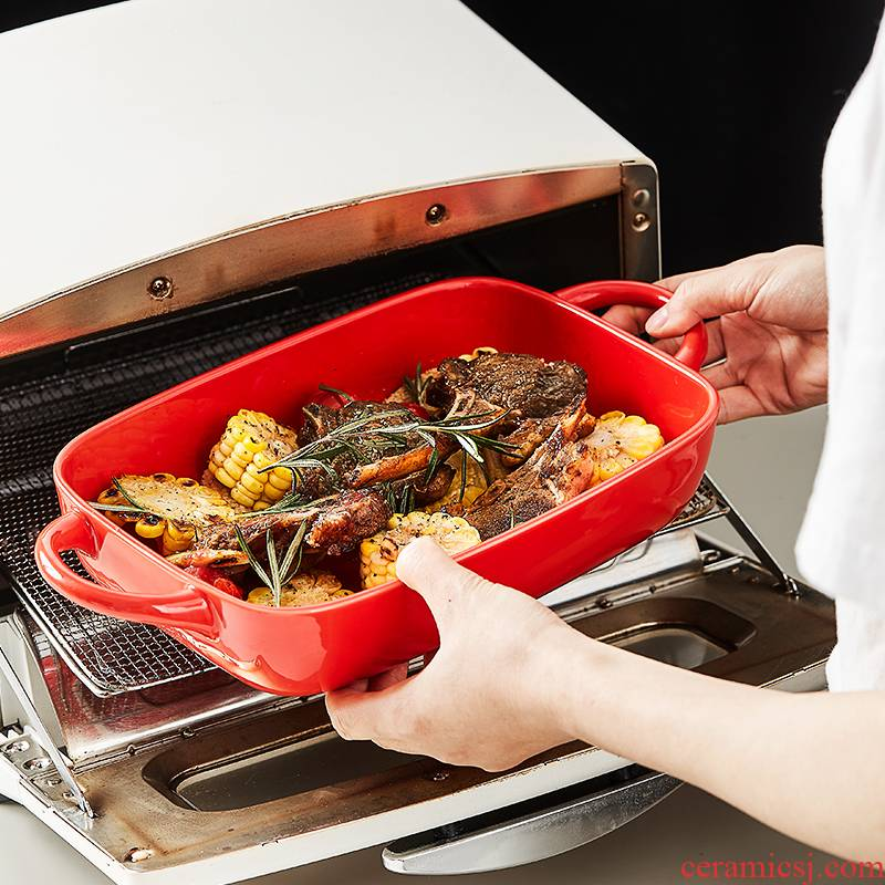 Nordic ceramic ears pan home creative dishes microwave oven dedicated cheese baked FanPan roasted bowl of tableware